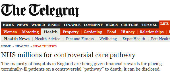 Sensationalist headlines. Liverpool Care Pathway